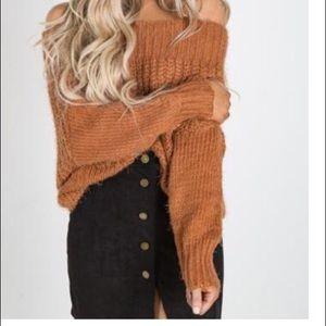 Sweaters - Orange off the shoulder crop sweater.